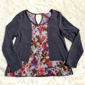 Stitch Fix Le Lis sweater charcoal floral small
